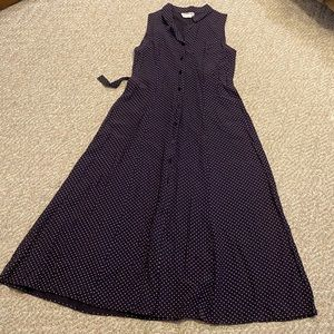 Vintage blue and white polka dot midi dress